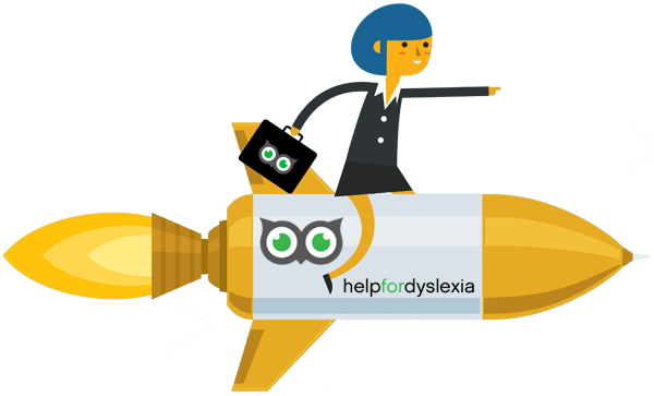 Lady with blue hair riding on a rocket ship with help for dyslexia on the side